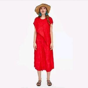 Zara NWT Medium Dress Red Pleated Creased Midi